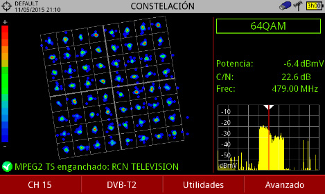 Fig. 9. 64QAM constellation diagram rotated for DVB-T2 signals from CARACOL and RCN. (Paz Penagos, 2018)