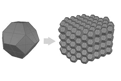 Fig. 2. Octaedro truncado y su distribución en el espacio.