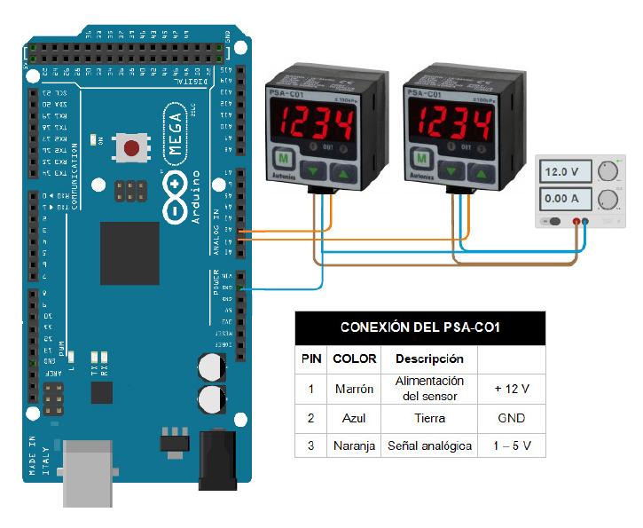 Esquema de conexión del sensor PSA-CO1 a la tarjeta Arduino.
